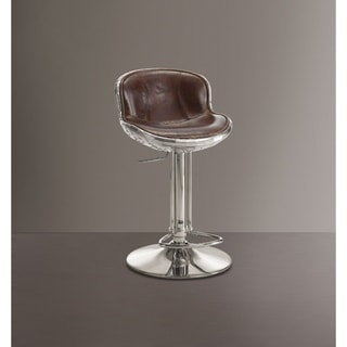 Astonishing Adjustable Stool with Swivel, Vintage Brown & Silver
