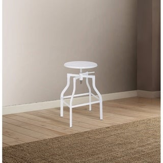 Adjustable Stool with Swivel, White