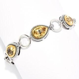 Pinctore Sterling Silver Pear Cut Citrine & White Zircon Toggle Bracelet