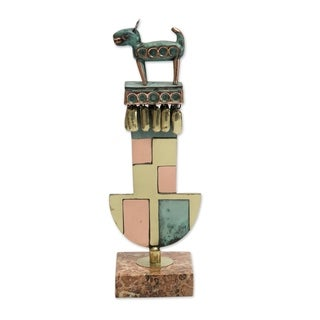 Handmade Chimu Dog Copper and Bronze Sculpture (Peru)