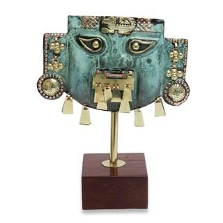 Copper And Bronze Sculpture, 'Inca Cat Mask' - Peru
