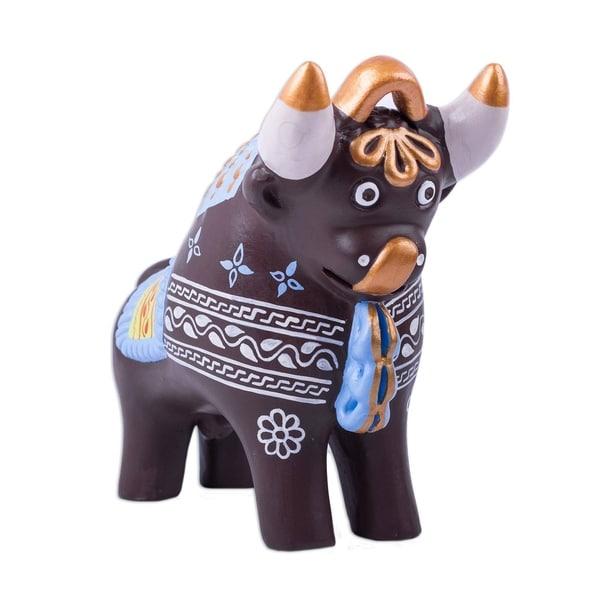 Ceramic Statuette, 'Brown Pucara Bull' - Peru