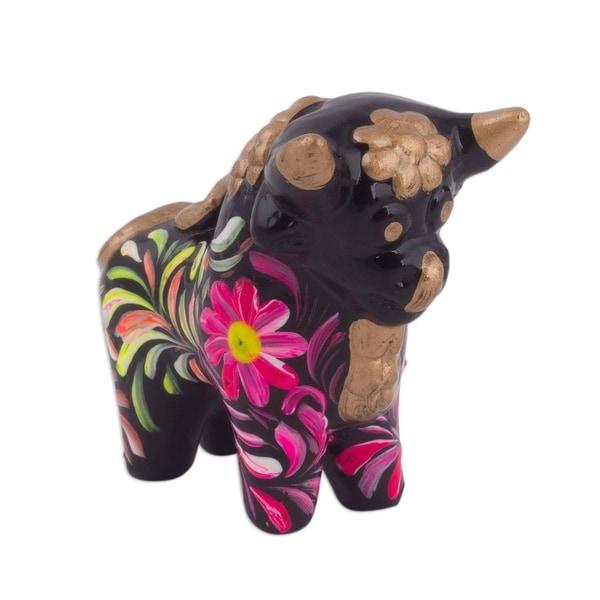 Ceramic Figurine, 'Strong Pucara Bull' - Peru