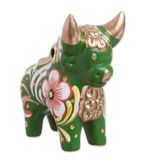 Handmade Green Pucara Bull Ceramic Figurine (Peru)