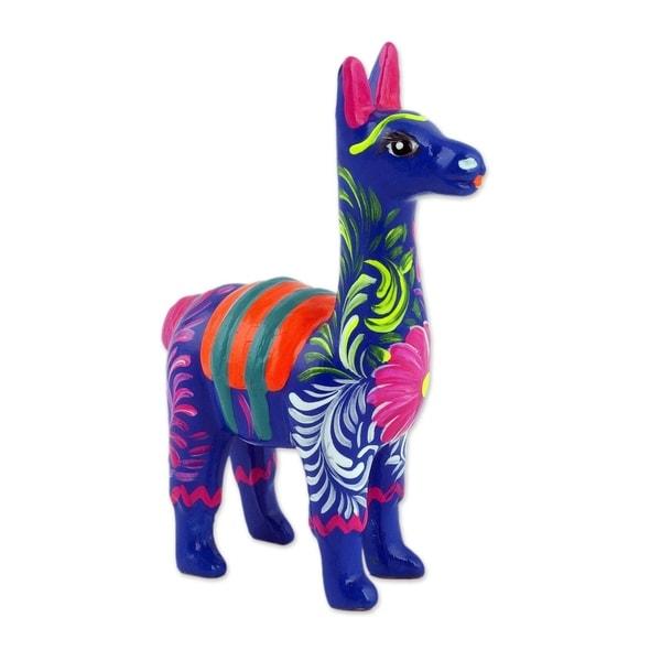 "Handmade 3.5"" Floral Llama Ceramic Sculpture (Peru)"