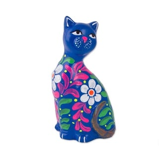 Ceramic Figurine, 'Sweet Cat In Blue' - Peru