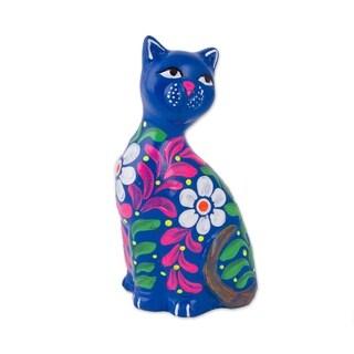 Ceramic Figurine, 'Sweet Cat In Blue' - Peru