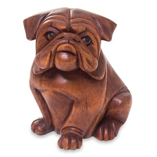 Handmade Curious Bulldog Wood Sculpture (Indonesia)