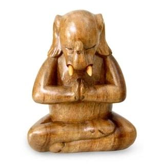 Wood Sculpture, 'Sitting Ganesha' - Indonesia