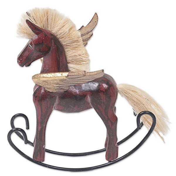 Handmade Wood Sculpture, 'Flying Horse in Red' (Indonesia). Opens flyout.