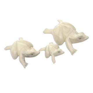 Wood Sculptures, 'Frog Family' (Set Of 3) - Indonesia