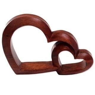 Wood Sculpture, 'Warm Hearts' - Indonesia