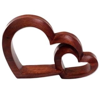 Handmade Warm Hearts Wood Sculpture (Indonesia)