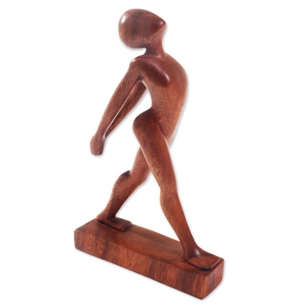 Wood Statuette, 'Stretching Pose' - Indonesia