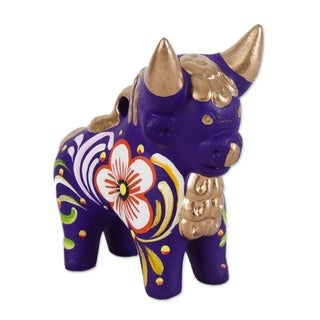 Ceramic Figurine, 'Purple Pucara Bull' - Peru