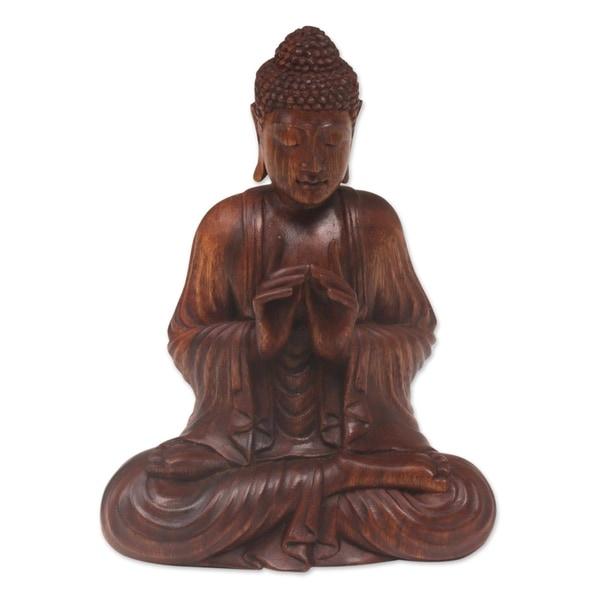 Handmade Buddha with Vitarka Mudra Wood Sculpture (Indonesia)