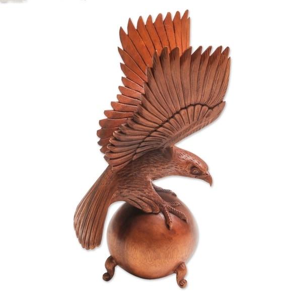 Wood Sculpture, 'American Bald Eagle' - Indonesia