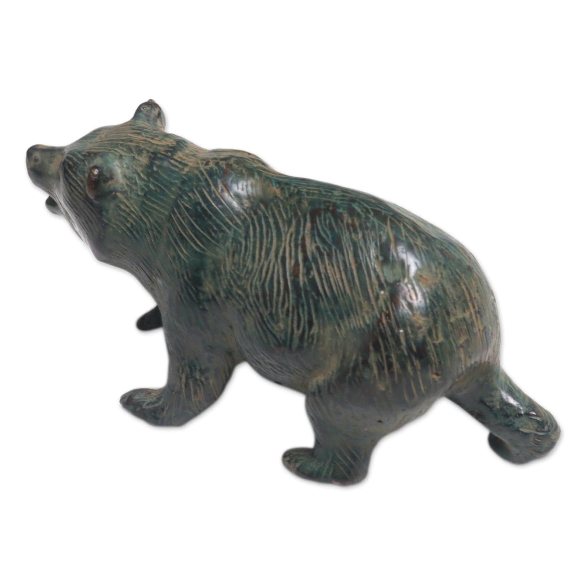 Handmade Brave Bear Bronze Figurine Indonesia Overstock 21420449