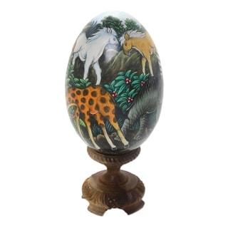 Wood Egg Statuette, 'Jungle Beauty' - Indonesia
