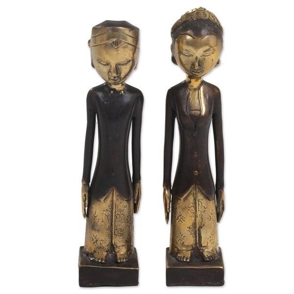 Bronze Sculptures, 'Manten Matrimony' (Pair) - Indonesia