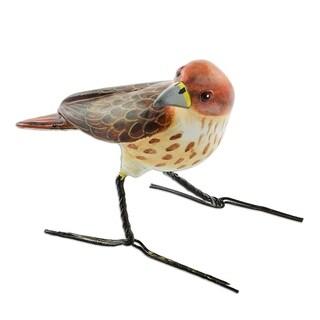 Ceramic Figurine, 'Red-Tailed Hawk' - Guatemala