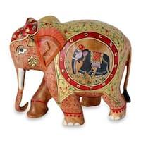 Wood Figurine, 'Festive Elephant' - India