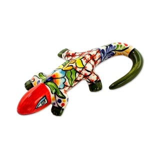 Ceramic Figurine, 'Gecko Fiesta' - El Salvador