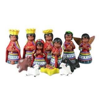 Ceramic Nativity Scene, 'San Juan Comalapa' (Set Of 12) - Guatemala