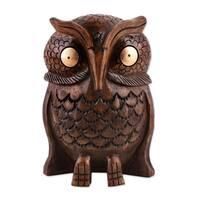 Wood Statuette, 'Owl Storyteller' - India