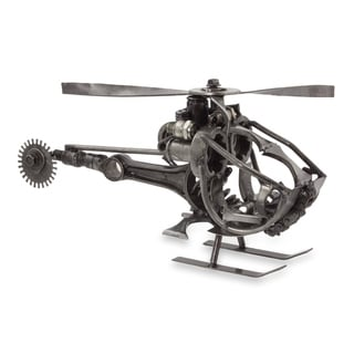 Upcycled Auto Part Sculpture, 'Helicopter' - Mexico
