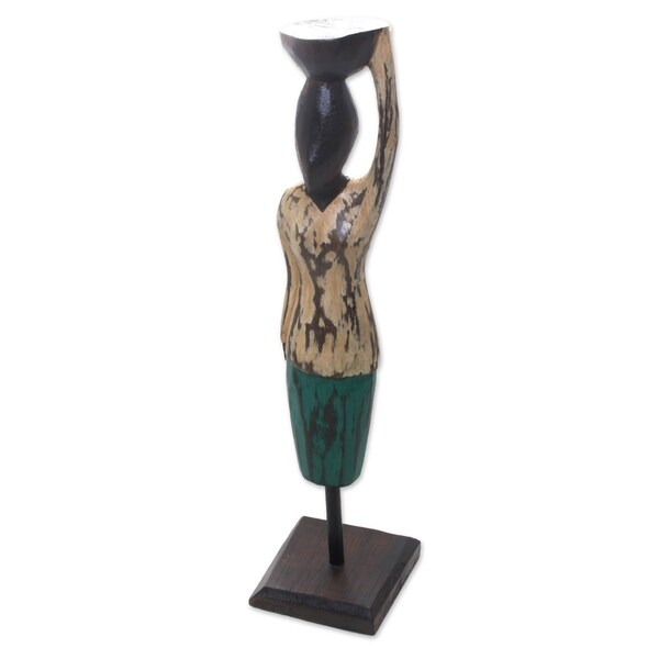 Wood Statuette, 'Bali Endeavor' - Indonesia