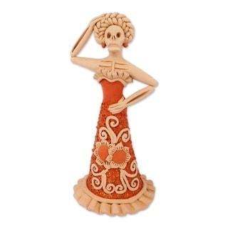 Ceramic Figurine, 'Catrina Coquette' - Mexico