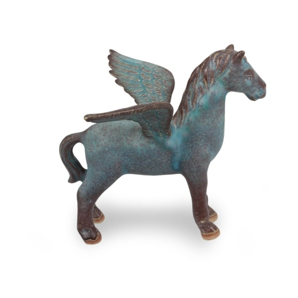 Celadon Ceramic Figurine, 'Antiqued Green Pegasus' - Thailand