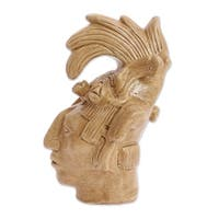 Ceramic Statuette, 'Maya King Of Palenque In Golden Brown' - Mexico