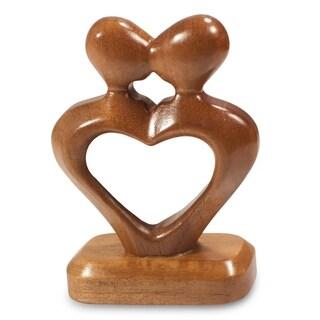 Mahogany Sculpture, 'The Kiss Of Love' - Guatemala
