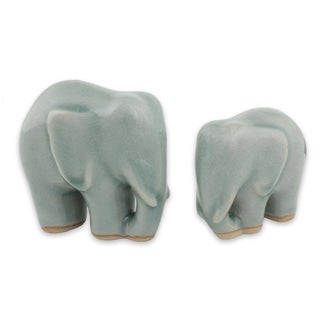 Handmade Elephant Bond In Light Blue Celadon Ceramic Figurines, Set of 2 (Thailand)