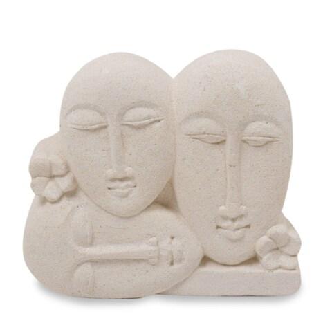 Sandstone Sculpture, 'Indonesian Family' - Indonesia