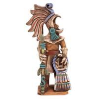 Ceramic Sculpture, 'Aztec Caballero Aguila Warrior' - Mexico