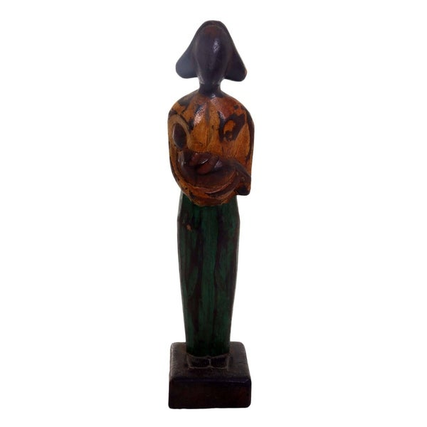 Wood Sculpture, 'Lovely Mother' (12.5 Inch) - Indonesia