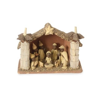 Wood Nativity Scene, 'African Palm House' - Ghana