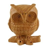 Wood Statuette, 'Fabled Owl' - India