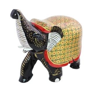 Wood Figurine, 'Elephant Fortune' - India