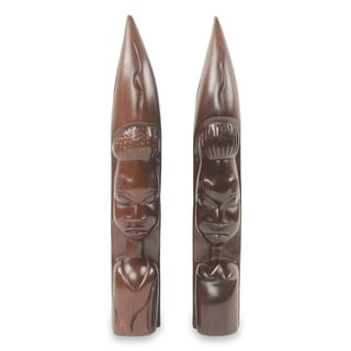 Ebony Wood Statuettes, 'Zulu Couple I' (Pair) - Ghana