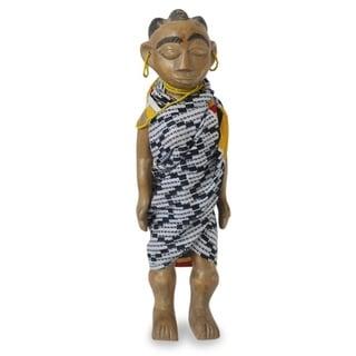 Wood Sculpture, 'Woman Of Olden Ghana' - Ghana
