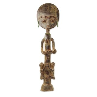 Wood Fertility Doll, 'Beautiful Ashanti Mother' - Ghana