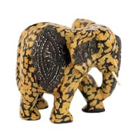 Wood Statuette, 'Spotted Elphant' - Ghana