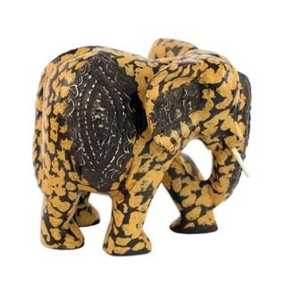 Wood Statuette, 'Spotted Elphant' - Ghana