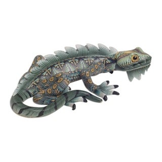 Polymer Clay Sculpture, 'Watchful Iguana' (4 Inch) - Indonesia
