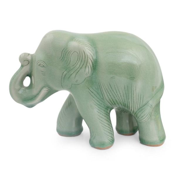Celadon Ceramic Figurine, 'Smiling Elephant' - Thailand