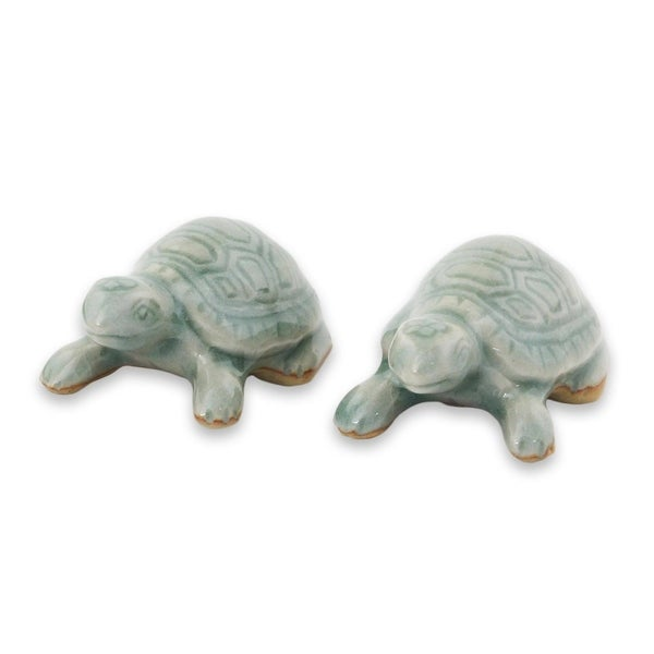 Celadon Ceramic Figurines, 'Sky Blue Resilient Turtles' (Pair) - Thailand